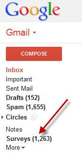 surveys gmail tab