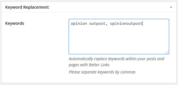 automatic keyword replacement
