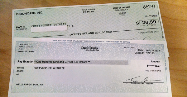 These were just the paper checks. Some companies I was waiting to cash out a bit longer though.
