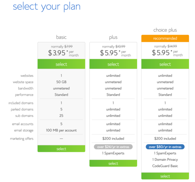Select your Bluehost package